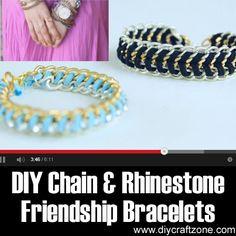 DIY Chain and Rhinestone Friendship Bracelets ►► http://www.diycraftzone.com/diy-chain-and-rhinestone-friendship-bracelets/?i=p