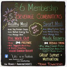 $6 Memberships!    -Healthy Meal Replacement Smootie, Energy Tea, and Aloe.  -Pre workout drink Herbalife 24 Prepare  -Post Workout drink Herbalife 24 Rebuild Strength  -Herbalife 24 Sport Meal Shake  -Bikini in a Bottle !! Yum!