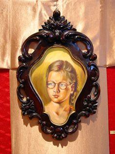 Rama do portretu- snycerka- drewno lipowe, bejcowane.