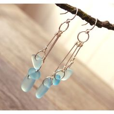 Sea glass earrings, blue, turquoise, long trio dangle drop earrings,... ($49) ❤ liked on Polyvore featuring jewelry and earrings