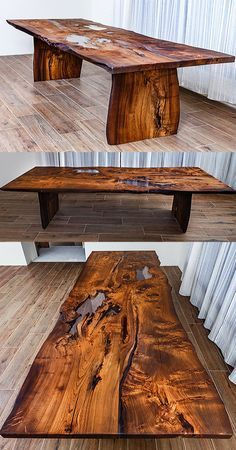 Modern wooden dining table made of solid wood Ash with a live edge. Cracks and knots in the wood are filled with transparent epoxy resin. Strong, original table legs are also made of slabs of Ash. Wood is covered with natural oil-wax. Manual polishing. The original table from precious wood for your dining room. #moderntablewood #tablediningroom #tablewoodepoxy #diningtable