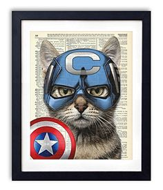 Captain Cat America Super Hero Vintage Upcycled Dictionary Art Print - 8x10 inches - http://centophobe.com/captain-cat-america-super-hero-vintage-upcycled-dictionary-art-print-8x10-inches/ -