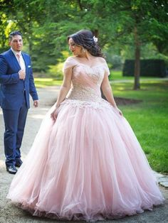 b58f715ef61 Ball Gown Off-the-Shoulder Sleeveless Applique Floor-Length Tulle Plus Size  Dresses. Pink Wedding ...