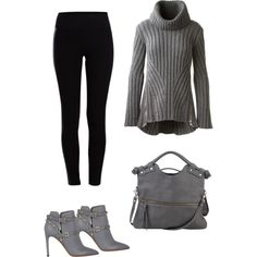 A fashion look from December 2014 featuring Alexander McQueen sweaters, Pieces leggings and Valentino ankle booties. Browse and shop related looks.