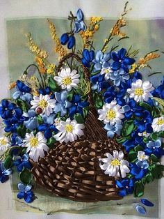 Wonderful Ribbon Embroidery Flowers by Hand Ideas. Enchanting Ribbon Embroidery Flowers by Hand Ideas. Ribbon Embroidery Tutorial, Simple Embroidery, Embroidery Monogram, Learn Embroidery, Silk Ribbon Embroidery, Hand Embroidery Patterns, Embroidery Stitches, Ribbon Work, Diy Flowers
