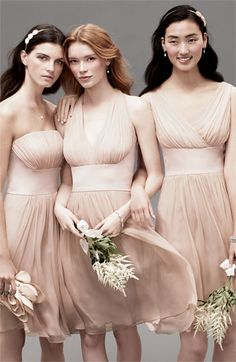 Donna Morgan Chiffon & Satin Bridesmaid Dresses #blush
