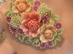 Occupied Japan Celluloid Early Plastic Flower Carved Brooch Pin + Ring Vintage