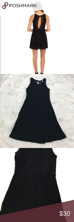 Free People Black Lady Jane Skater Dress Small LADY JANE DRESS from Free People.  Black, lace trim cutout in back. Stretchy slinky acetate/spandex. Free People Dresses
