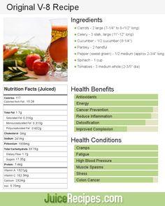 Original V 8 Recipe Healthy Juice Recipes Healthy Juices Green Juice Recipes, Healthy Juice Recipes, Nutribullet Recipes, Juicer Recipes, Healthy Juices, Detox Recipes, Healthy Smoothies, Fruit Smoothies, Healthy Drinks