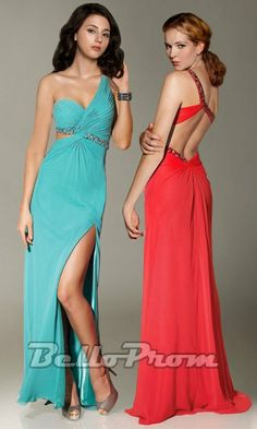 One Shoulder Backless Front Slit Dress A3550