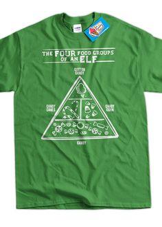 Funny Christmas Shirt Elf Food Group Elves T-shirt par IceCreamTees