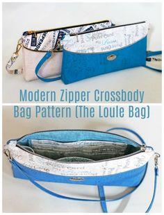 Modern Zipper Crossbody Bag Pattern (The Loule Bag) - Sew Modern Bags Easy Sewing Patterns, Bag Patterns To Sew, Clutch Bag Pattern, Pouch Pattern, Zipper Pouch Tutorial, Purse Tutorial, Across Body Bag, Small Crossbody Bag, Zipper Bags