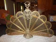 Antique Ornate Peacock Brass Fireplace Screen.Heavy and Highly ...