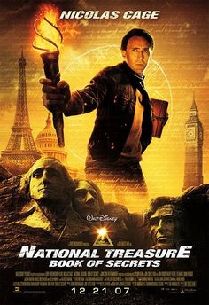 Official theatrical movie poster ( of for National Treasure: Book of Secrets Directed by Jon Turteltaub. Starring Nicolas Cage, Jon Voight, Harvey Keitel, Ed Harris Hd Movies, Film Movie, Movies To Watch, Movies Online, Cloud Movies, Nicolas Cage, Movies Showing, Movies And Tv Shows, Capas Dvd