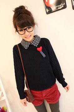 Korean Winter Dots Turn Collar Heart-shaped Pullover Sweater