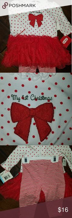 Baby first Christmas outfit First Christmas tutu dress with matching leggings. Little Me Matching Sets
