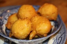 A simple flour fritter featuring corn. Cream corn adds such a nice creamy texture, but fresh corn milked from the cob is excellent too.