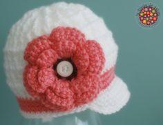Valentine hat - Crochet baby hat - Baby Photo Prop - Newsboy Beanie Brimmed Cap - Newborn Photo Prop - Made to order. $25.00, via Etsy. by Jennifer Leaden