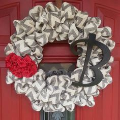 Handmade Chevron Burlap Wreath with Monogram Letter and Red flowers