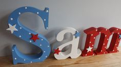Boys hand painted wooden freestanding by AvaBeePrettyWooden