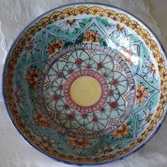 Ciotola / Spaghettiera / Insalatiera in ceramica dipinta  a mano.Dec .Geo/Floris