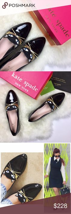 """Kate Spade Cecilia Kitty Flats Brand New in Box Kate Spade Cecilia Kitty Flats brand new in box with care booklet and drawstring dust bag. """"A pair of perfect patent loafers adorned with a feline face (complete with golden whiskers!), our cecilias are the cat's meow.""""  DETAILS  Size: 6  Brand new in box with care card and dust bag (brand new but there are a few minor streaks on patent; see photos)  item comes pre-boxed imported MATERIAL  patent leather FEATURES  .5"""" heel pointed toe slip on…"""