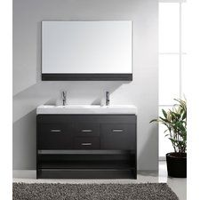 "Gloria 48"" Double Bathroom Vanity Set with White Top and Mirror"