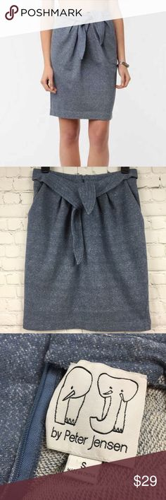"""Peter Jensen wrap front skirt with pockets Sz S Peter Jensen wrap front skirt with pockets  Sz S 63% cotton 37% polyester  Gently used condition  Waist 13 1/2"""" Length 21 1/2"""" Peter Jensen Skirts"""