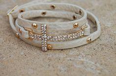 Leather Wrap Cross Bracelet White by StringofLove on Etsy, $22.00