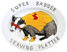 Oval Serving Plate  Hand Drawn  Super Badger by jimbobart on Etsy, $145.00