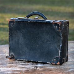 Vintage Leather Suitcase | Inventory Trunks & Suitcases Vintage Black Leather Suitcase