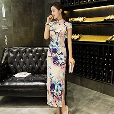 Find More Cheongsams Information about New Arrival Female Elegant Vintage Dress Chinese Women Summer Sexy Cheongsam Long Slim Qipao Flower Size S M L XL XXL,High Quality flower dress women,China flower dresses for kids Suppliers, Cheap flower design dress from Bys Store Store on Aliexpress.com