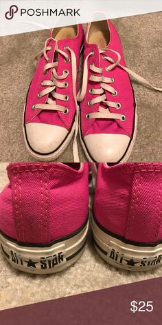 Hot Pink Converse Sneakers Hot pink All Star Converse sneakers. They have some wear but still in good condition. I will wipe them down before sending them off. Their a women's size 8, but I wear a size 9 and they fit perfectly. Converse Shoes Sneakers