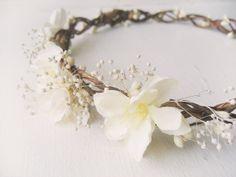 Flower Crown Bridal Headpiece Rustic Circlet by NoonOnTheMoon, $60.00
