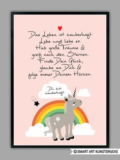 "Original print - ""RAINBOW UNICORN"" in pink, art print - a unique product by Smart-Art-Art Prints on DaWanda naissance # Designerstück # ."