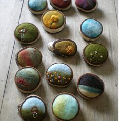 Needle felted brooches by Lisa Jordan of lil fish studios