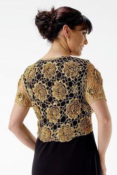 Lindo bolero rendado feito com squares de crochê..  Abaixo 3 sugestões de squares que poderão compor um look semelhante.                 ...