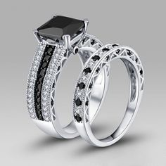Pricness Cut Black Diamond Rhodium Plated 925 Sterling Silver Women's Wedding Ring Set/Bridal Set
