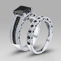 Pricness Cut Black Diamond Rhodium Plated 925 Sterling Silver Women's Wedding Ring Set/Bridal Set