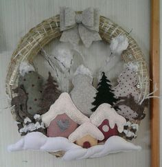 Sewing Diy Vintage 41 Ideas - Her Crochet Christmas Door Wreaths, Felt Christmas Ornaments, Christmas Art, Wreaths And Garlands, Navidad Diy, Fun Crafts For Kids, Xmas Decorations, Christmas Inspiration, Felt Crafts