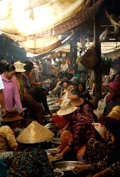 Kampot, Cambodia. Busy and crowded indoor fish market,all of the vendors were women.