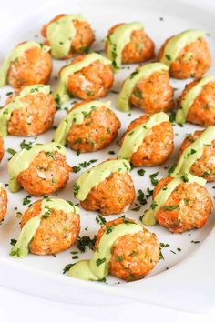 Baked Salmon Meatballs with Creamy Avocado Sauce...Fantastic flavor and packed with omega-3s! 295 calories and 6 Weight Watchers SmartPoints