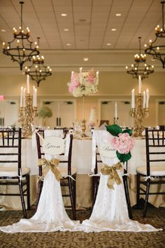 Elegant bride and groom table: http://www.stylemepretty.com/south-carolina-weddings/charleston/2014/10/23/classic-charleston-wedding-with-shades-of-pink/ | Photography: Caroline Ro - http://www.carolinero.com/