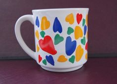 Yellow Blue Red Green Hearts Tilka COFFEE MUG cup Valentine love #RecycledPaperProducts