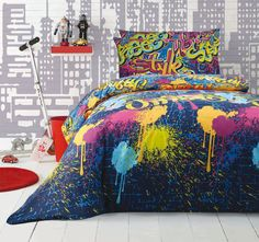 Ardor For Kids Graffiti Quilt Cover Set Range Multi Quilt Cover Sets, Quilt Sets, Graffiti Bedroom, Manchester House, Cute Curtains, Bed Covers, Boy Room, Comforter Sets, Linen Bedding