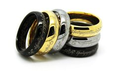 Lord of The Rings LOTR Custom Size Tungsten Carbide Ring With Stainless Steel Necklace