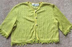 VTG GEARY ROARK KAMISATO Women's Lime Green 100% RAYON Short Cardigan Size LARGE    eBay