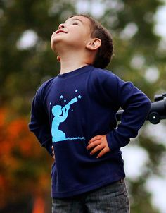 Star Gazer Long Sleeved Nostalgic Graphic Tee on Etsy, designed and printed in the USA. Perfect for the kid who loves science and discovery.