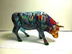 COW PARADE 2002 SUMMERTIME #7464 LARGE CERAMIC FIGURINE,RETIRED & HARD TO FIND!