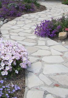 Walk Way of Recycled Concrete w/ Brick accents - mediterranean - landscape - orange county - by Jean Marsh Design